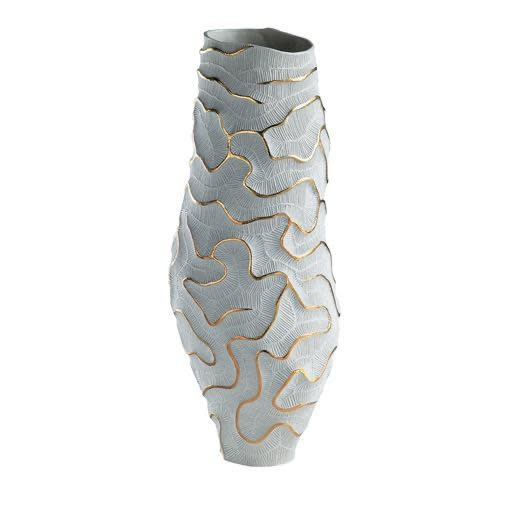 Vase Fossilia Monolite White Gold 25x25x59cm-1