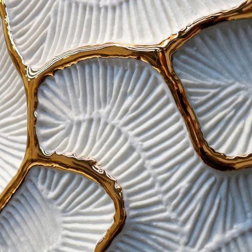 Vase Fossilia Monolite White Gold 25x25x59cm-3