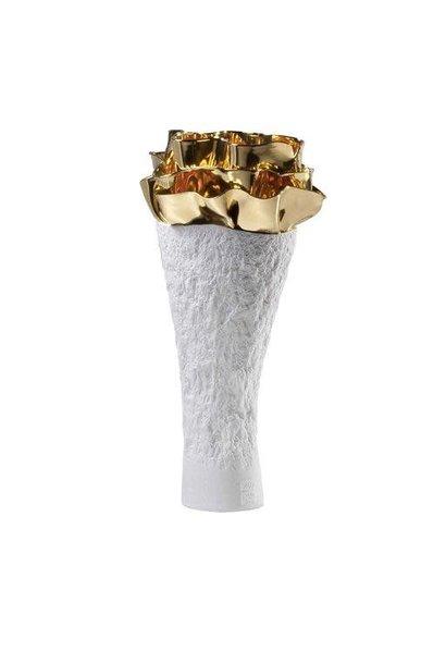 Vase Porcelaine Anthozoa Blanc Doré 18x16x39cm