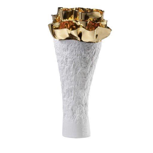 Vase Anthozoa Porcelain Golden White 18x16x39cm-1