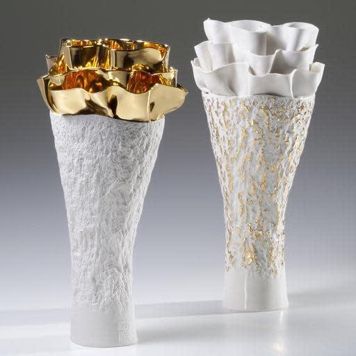 Vase Anthozoa Porcelain Golden White 18x16x39cm-2