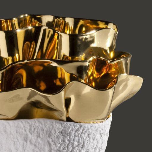 Vase Anthozoa Porcelain Golden White 18x16x39cm-3
