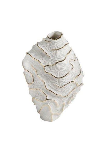 Vase Porcelaine Fossilia Blanc Platine 25x20x34cm