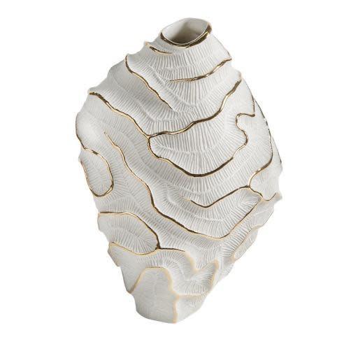 Vase Fossilia White Platinum 25x20x34cm-1