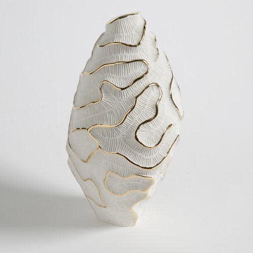 Vase Fossilia White Platinum 25x20x34cm-2