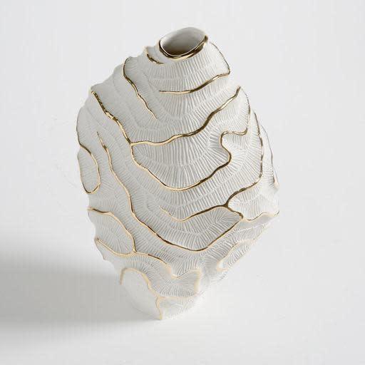 Vase Fossilia White Platinum 25x20x34cm-5