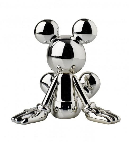 Mickey Sitting Chrome Silver 12cm-3