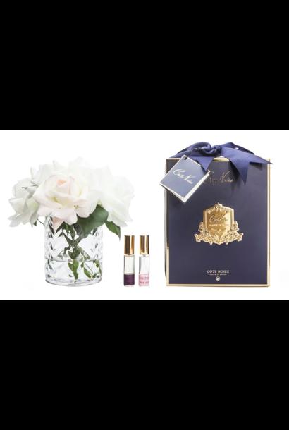 Flowers Herringbone Roses Blush Clear Vase