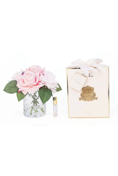 Bouquet Herringbone - Roses Rose - Vase Clair