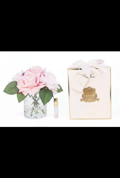Flowers Herringbone Roses Pink Clear Vase
