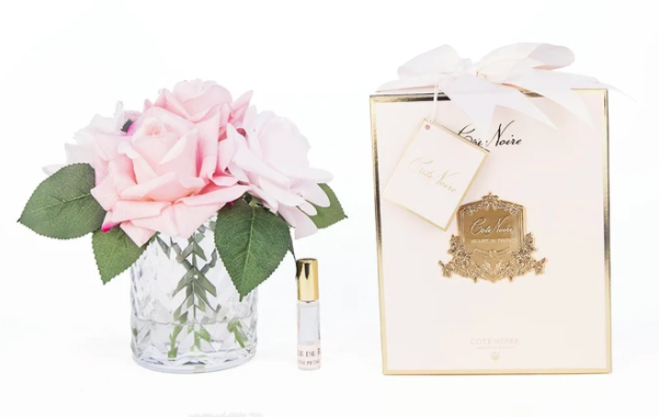 Flowers Herringbone Roses Pink Clear Vase-1
