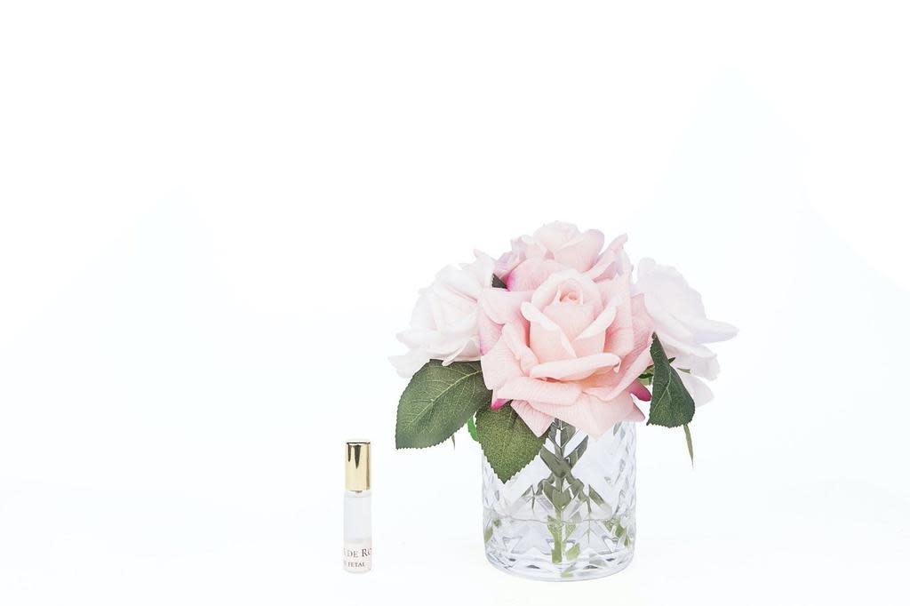 Flowers Herringbone Roses Pink Clear Vase-2