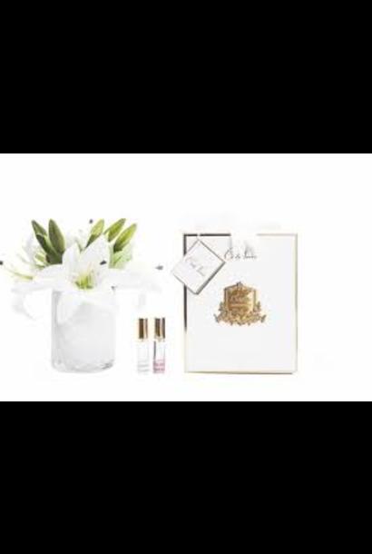 Herringbone Flowers Lily Vase Clear