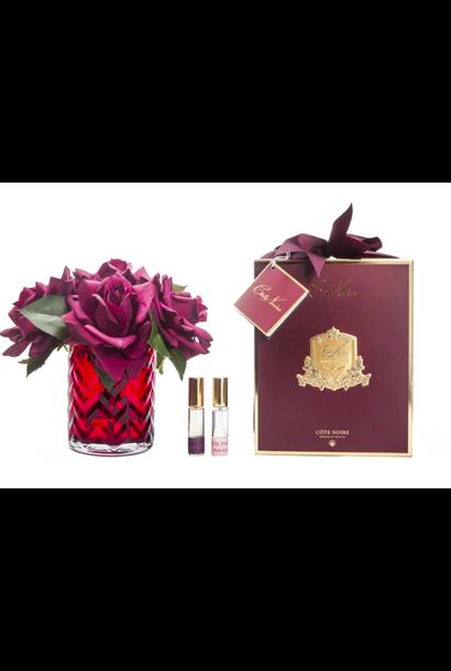 Bouquet Herringbone - Roses Rouges - Vase Rouge