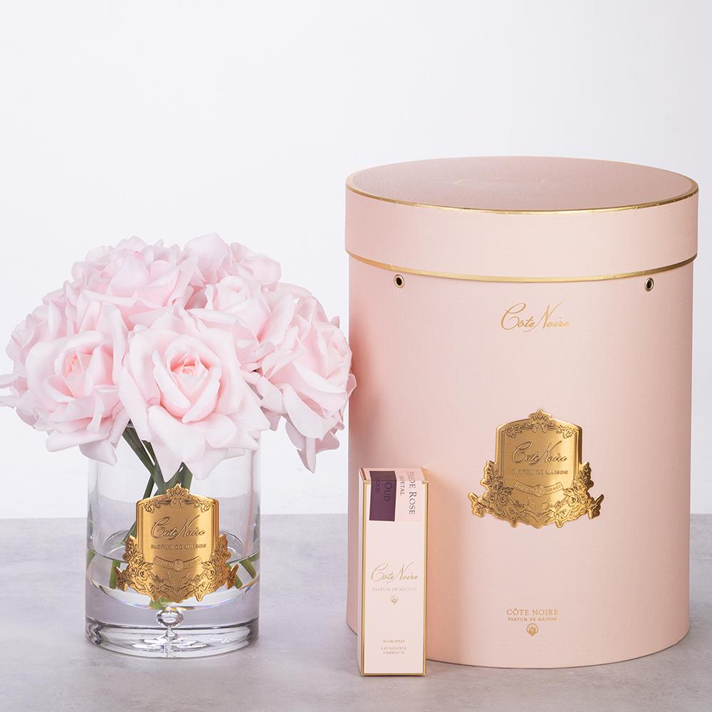COTE NOIRE - Large Bouquet Roses Pink Clear Vase-2