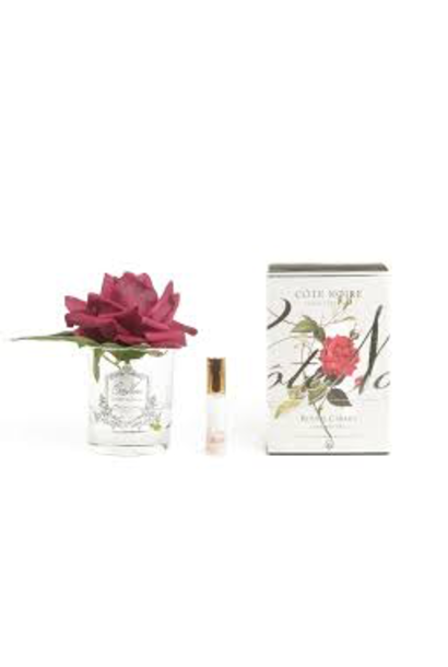 Carmine Red Rose Flower Clear Vase