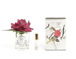 Carmine Red Rose Flower Clear Vase-1