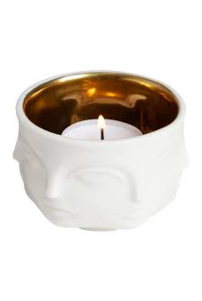 Muse Candle Holder White / Gold