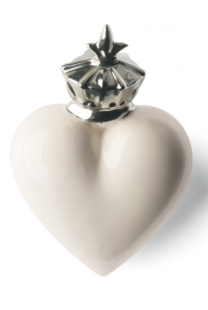 Heart Mitter White and Silver