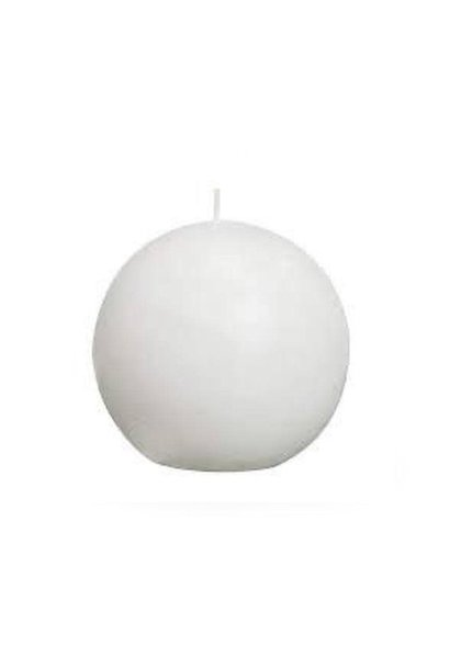 White Lacquered Sphere Candle D. 7.5cm