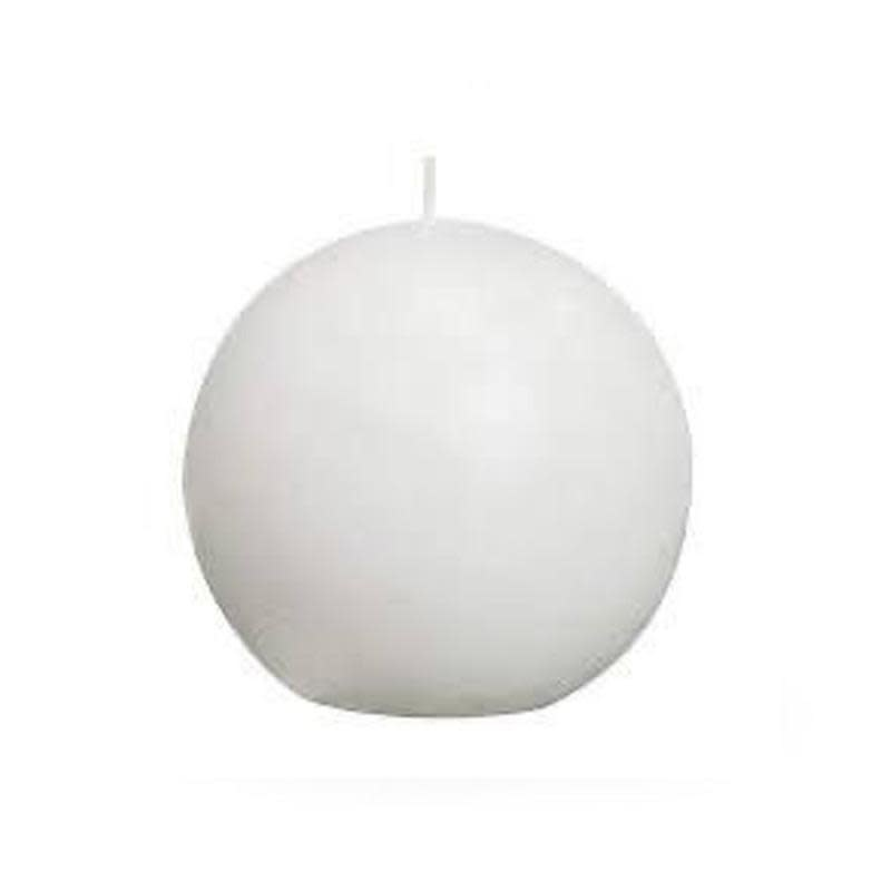 White Lacquered Sphere Candle D. 7.5cm-1