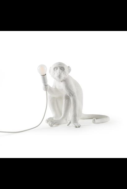 Lampe Singe Assis Blanc - H.32cm