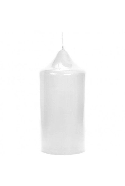 White Lacquered Altar Candle 15x8cm