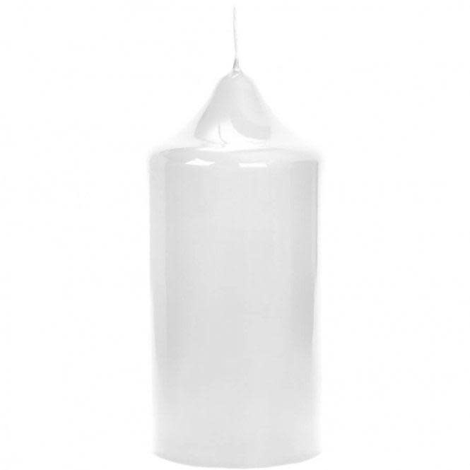 White Lacquered Altar Candle 15x8cm-1