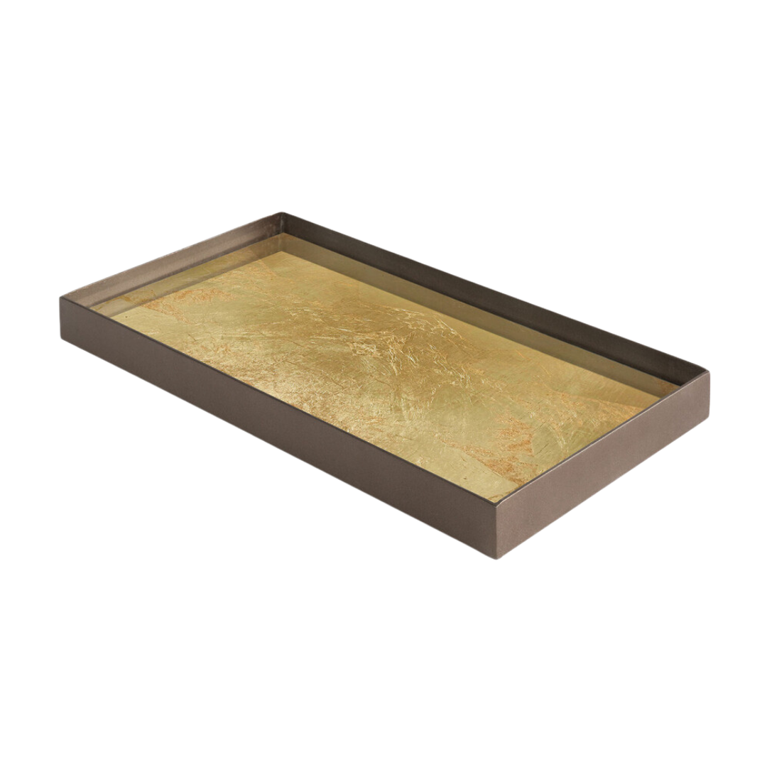 Tray Rectangle Gold Leaf 31x17cm-2