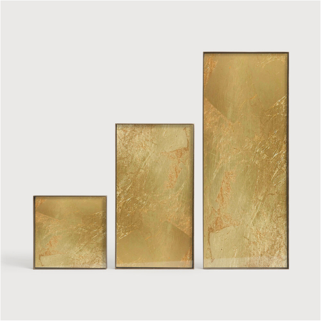 Tray Rectangle Gold Leaf 31x17cm-3