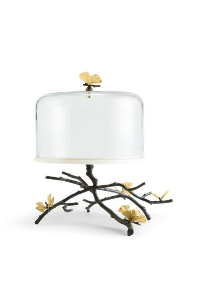 Cake Dish With Bell Butterfly Ginkgo