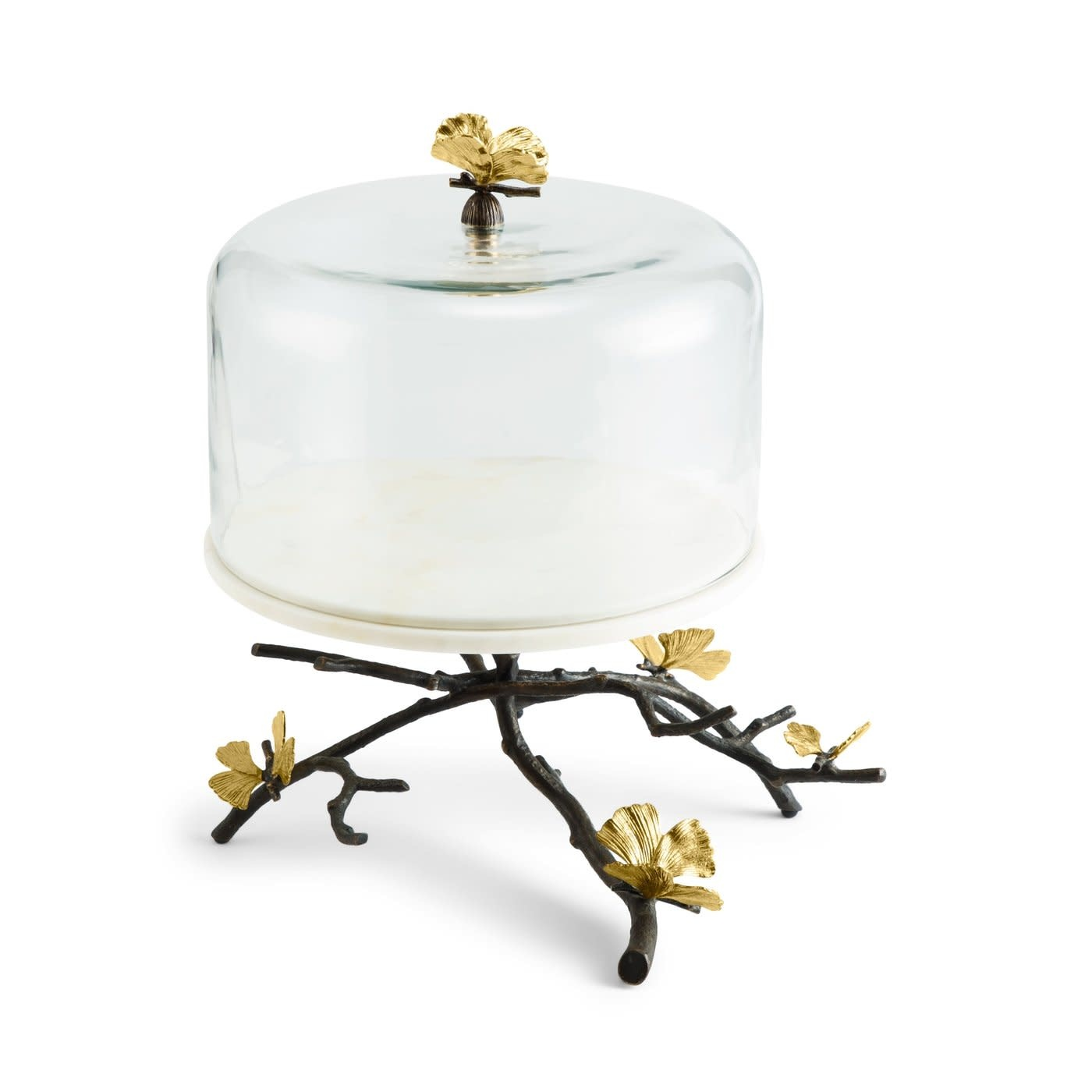 Cake Dish With Bell Butterfly Ginkgo-3