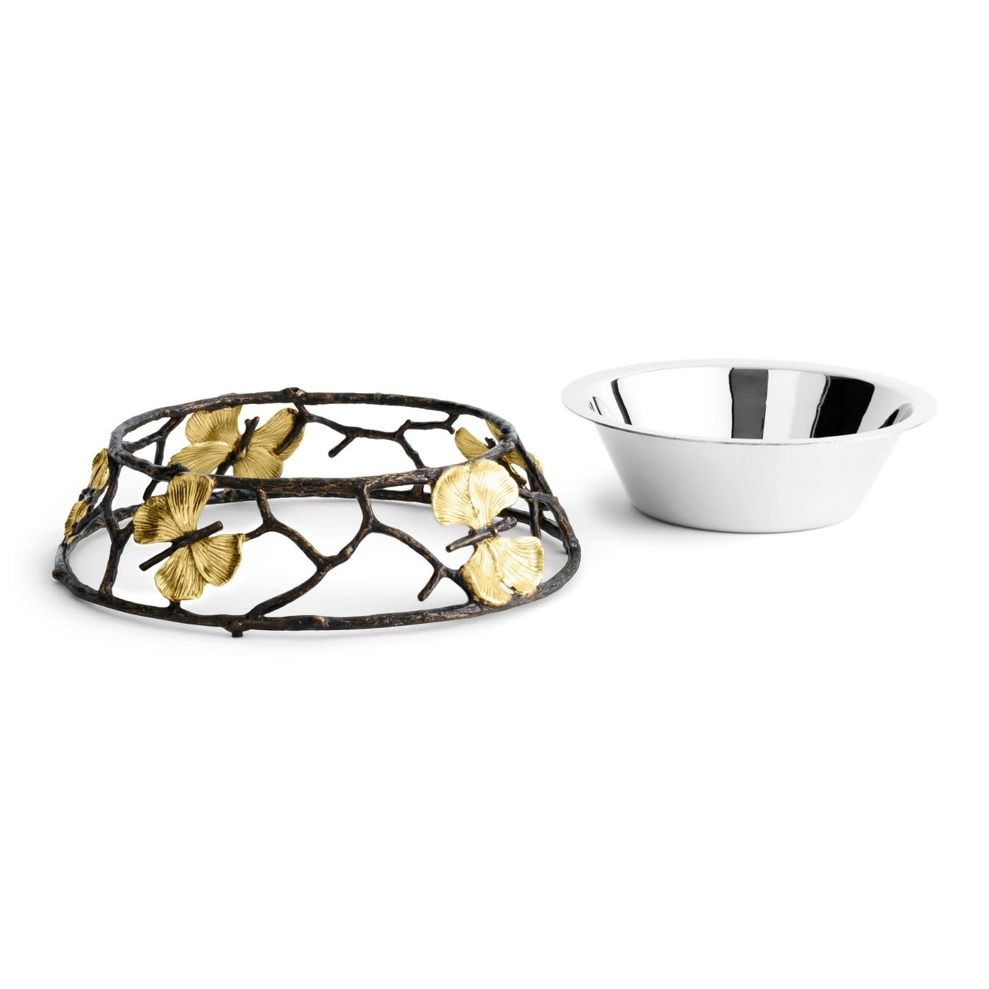 Large Ginkgo Butterfly Dog Bowl-3