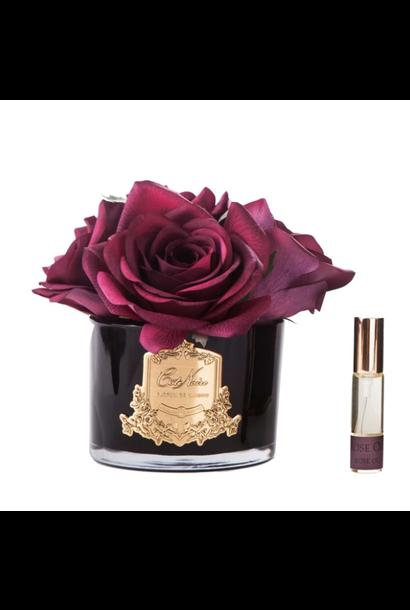 Bouquet 5 Roses Rouge Carmin - Vase Noir