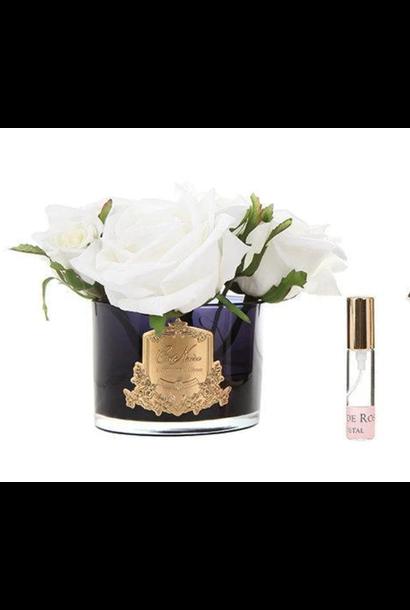 Flowers 5 Ivory Roses Black Vase