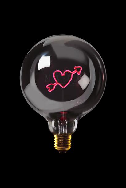 "Luminous bulb ""Arrow Heart"" Smoked Red"