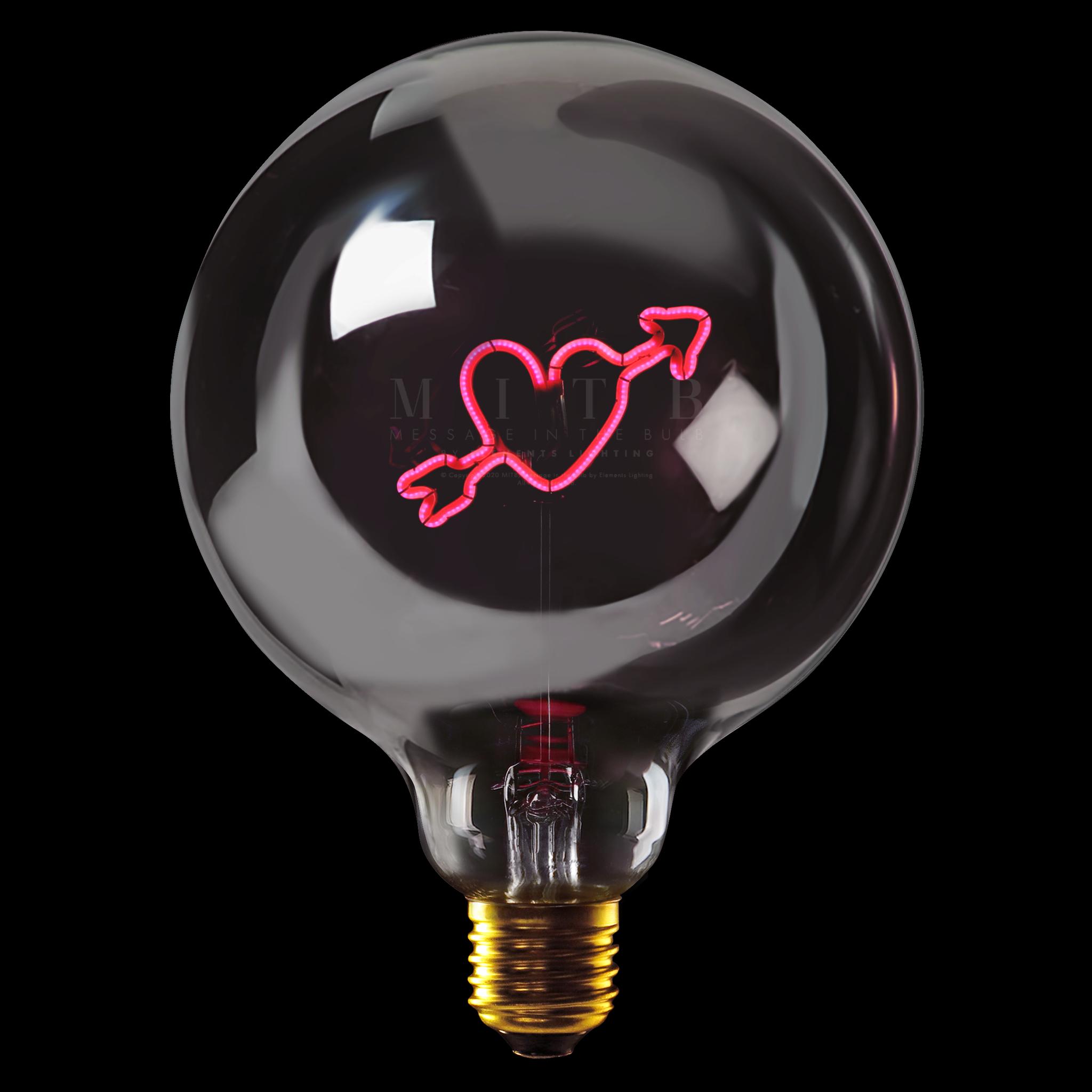 "Luminous bulb ""Arrow Heart"" Smoked Red-1"