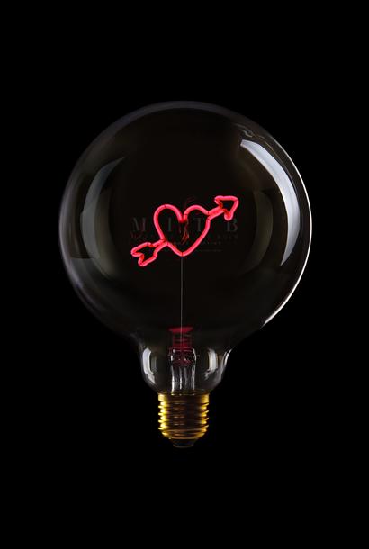 Luminous Bulb ''Heart Arrow'' Smoked Red