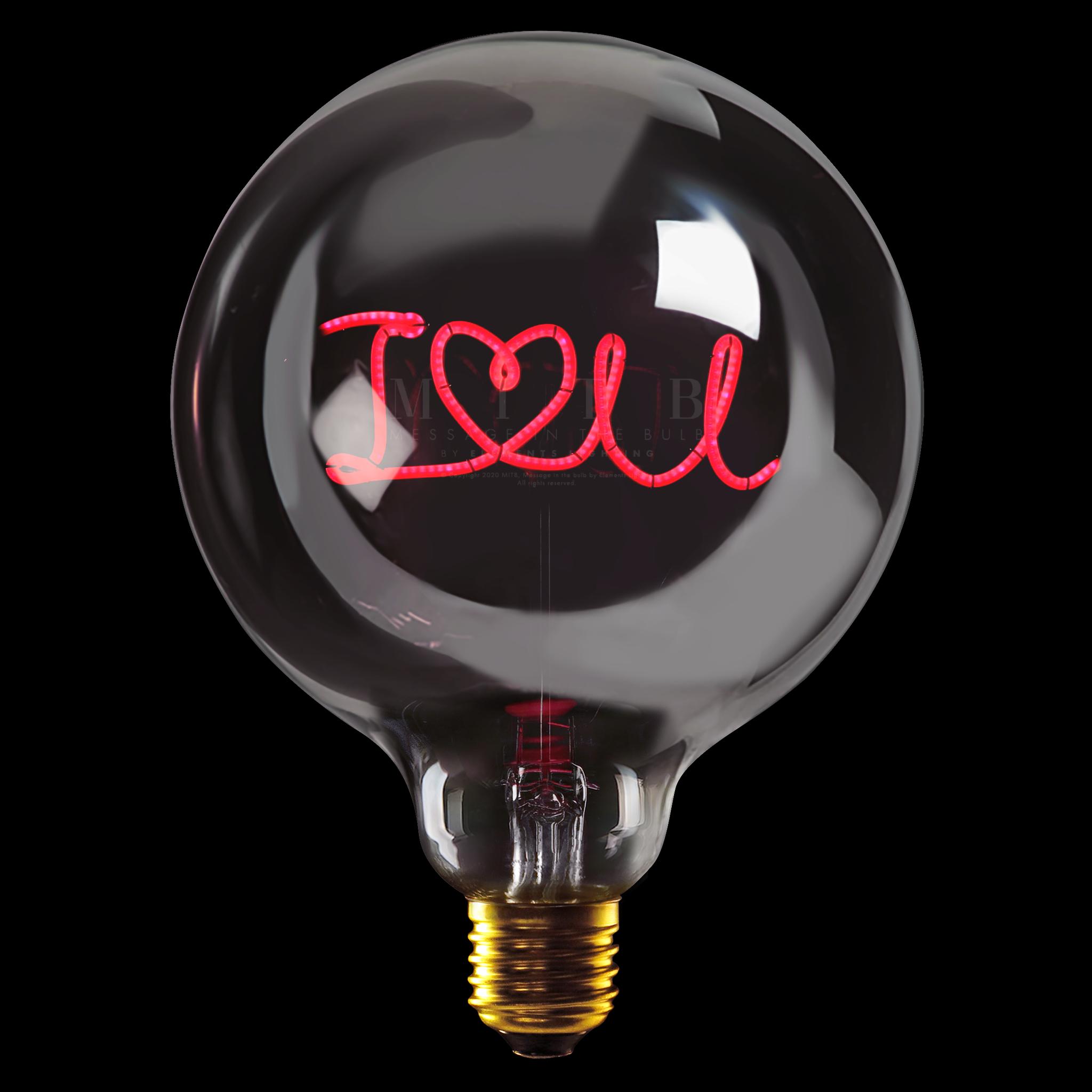 Luminous Bulb  ''I love u'' Smoked Red-1