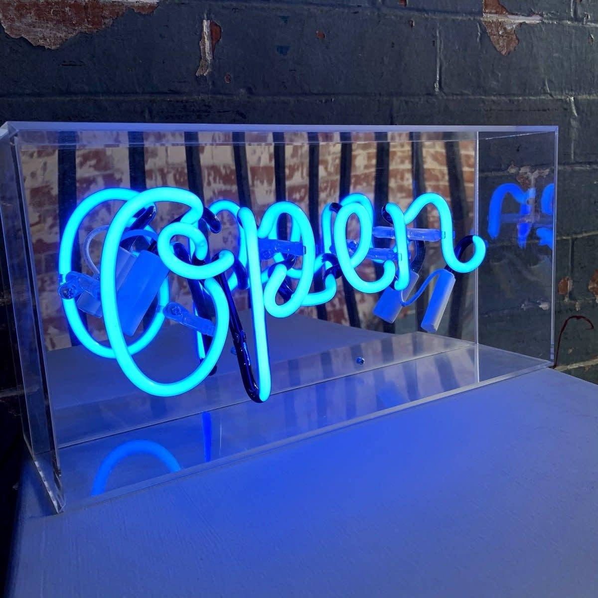 "Acrylic Box Neon Light  ""Open"" Blue-2"