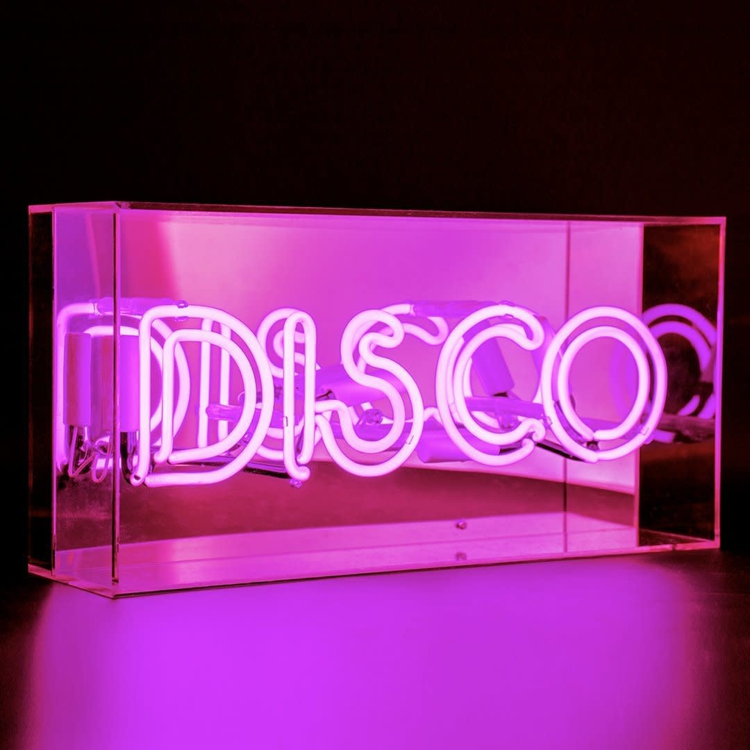 "Acrylic Box Neon Light  ""Disco"" Pink-1"