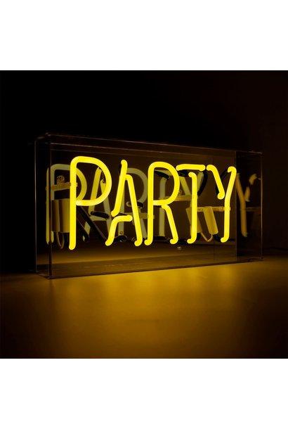 "Acrylic Box Neon Light  ""Party"" Yellow"