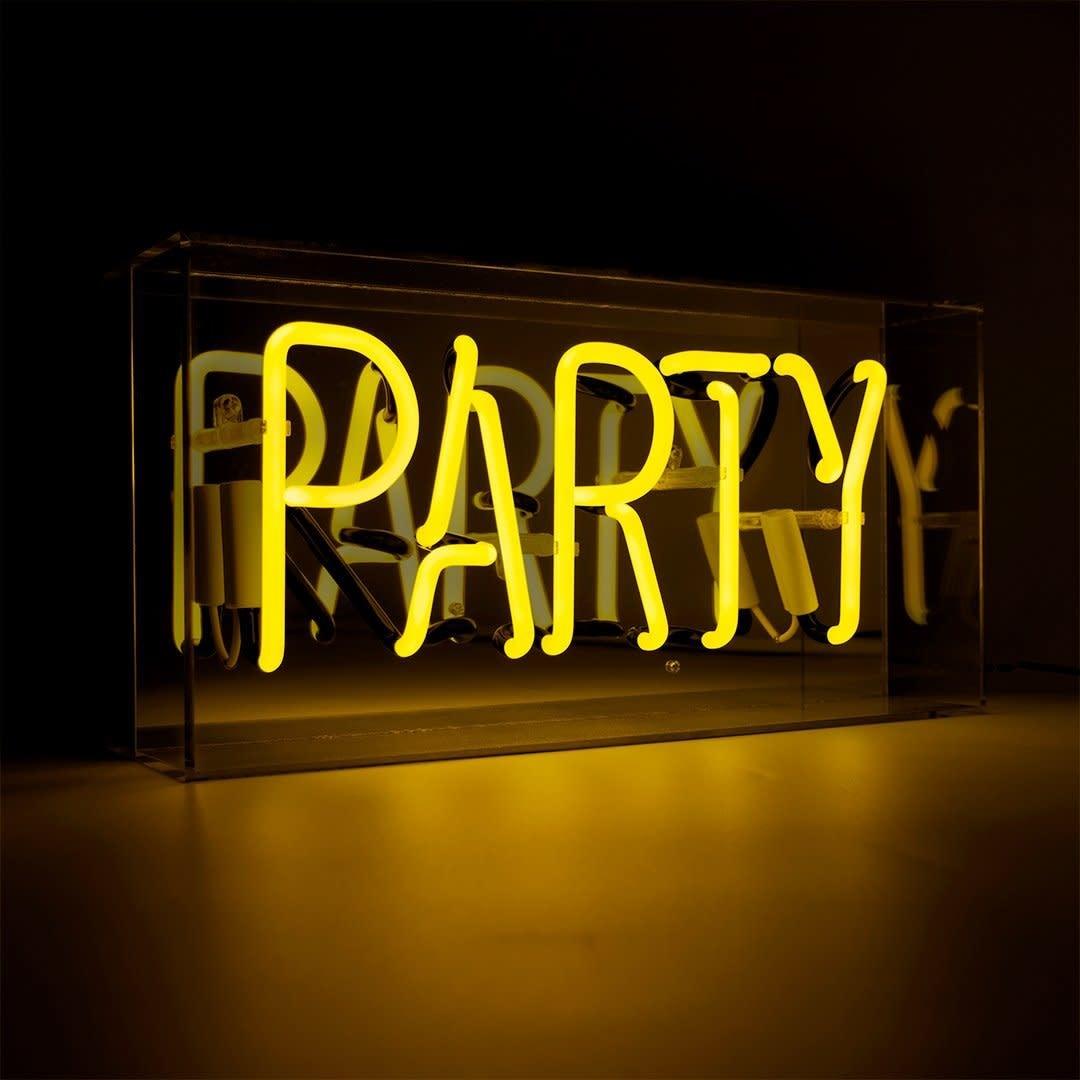 "Acrylic Box Neon Light ""Party"" Jaune-1"