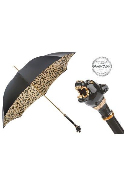 Parapluie En Satin Manche Panthère Noir