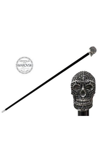 Cane Skull Handle Black Crystals