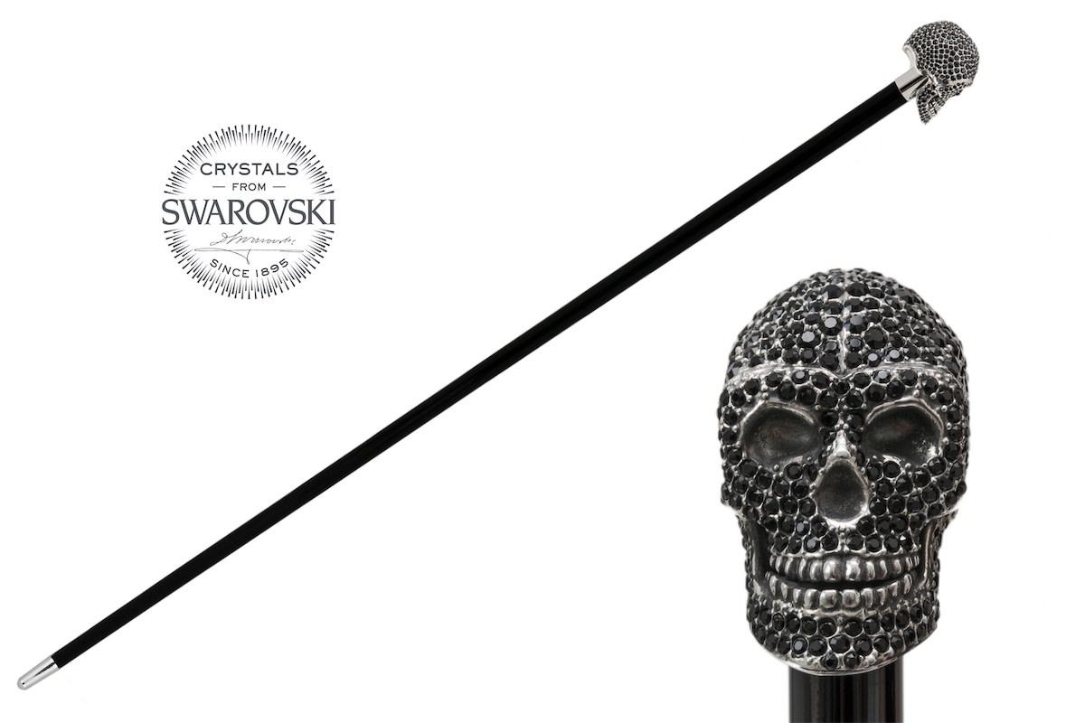 Cane Skull Handle Black Crystals-1