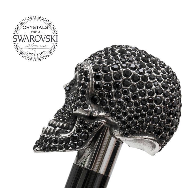 Cane Skull Handle Black Crystals-3