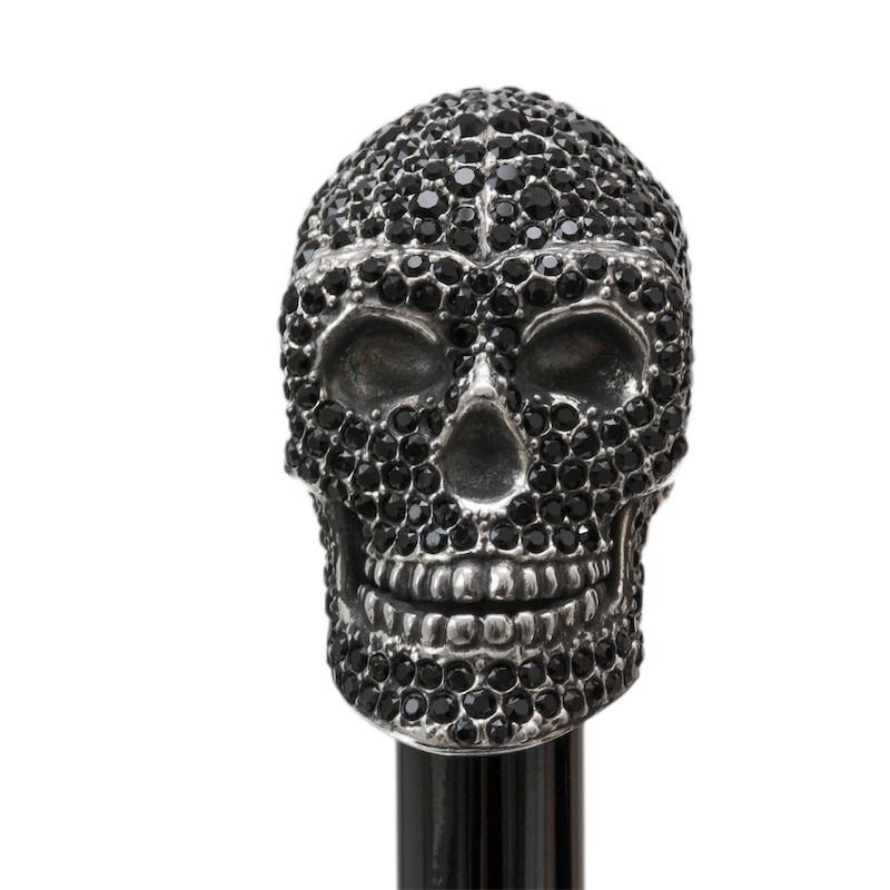 Cane Skull Handle Black Crystals-5