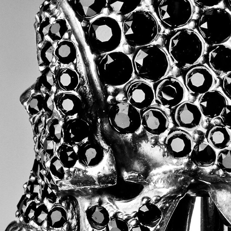 Cane Skull Handle Black Crystals-7