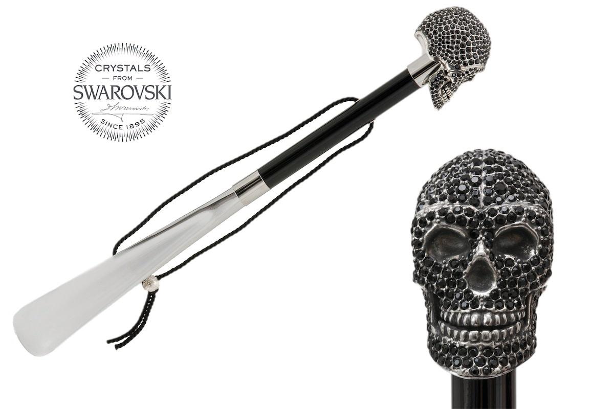 Shoehorn Skull Handle Black Crystals-1